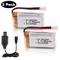 Hootracker 2pcs 3.7V 550mAh 25C Lipo Battery XH2.54 Connector with USB Charger for RC Quad...