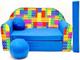 Pro Cosmo C32-Divano letto per bambini con pouf/poggiapiedi/cuscino, in tessuto, multicolo...