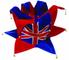 amscan PPP - Cappello da giullare in Feltro, Motivo Bandiera UK