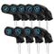 Set di 9 copricapi Neri per Mazze da Golf in Ferro, con Numero Blu Ricamato sui Lati della...