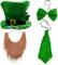 Creepyparty festa di san patrizio costume completo cappello, arco, papillon, barba, sciarp...