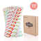 Gimars 200PC Cannucce Biodegradabili Carta USA e Getta Ambientali 8 Colori a Strisce Cannu...