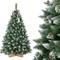 FairyTrees Albero di Natale Artificiale Pino, innevato Bianco Naturale, Materiale PVC, Ver...