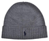 Ralph Lauren Polo Beanie Hat Wool Grey Mens One Size One Size