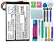Cameron Sino, batteria GPS, 1250 mAh, ai polimeri di litio, adatta a Garmin Edge 605 e Edg...