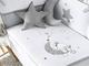 Pirulos 27713120–Piumone, paracolpi e cuscino, motivo luna, 72x 142cm, colore: bianco/...
