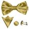 GASSANI Set Papillon Uomo 3 Pezzi Color Oro, Papillon Matrimonio, Pochette Taschino, Gemel...