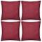 vidaXL Set 4 Federe copricuscino arredo casa in cotone rosso bordeaux 80 x 80 cm