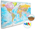 Bacheca-Planisfero - 20 bandierine/segnabacheca - Pianificazione viaggi - Mappa istruttiva...