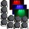OUKANING 10 X LED PAR 56 18 X 3 W RGB DMX faro Flat Compact Floorspot DJ effetto luce Disc...
