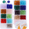 (6mm+4mm) 1500pz Perline Cristallo Sfaccettato Colorate + (5m*1mm) 2 Rotoli Filo Elastico...