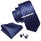 Barry.Wang, set di cravatte da uomo, confezione regalo con fazzoletto e fermacravatta in s...