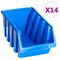 vidaXL Contenitori di Stoccaggio Impilabili 14 pz Blu in Plastica