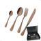 Astuccio legno 51 pezzi Royal Retrò PVD Chocolate, Acciaio 18/10 antico, spessore 2.5 mm,...