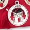 Medaglione Laurea gufo con libro in resina Argentata particolari rossi Ø 8,5 cm in scatola...