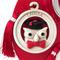 Medaglione Laurea gufo con Figura in ceramica bicolor particolari rossi Ø 8,5 cm in scatol...