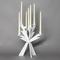 Candelabro Zeus in metallo, diam.30x36h, colore Bianco Neve